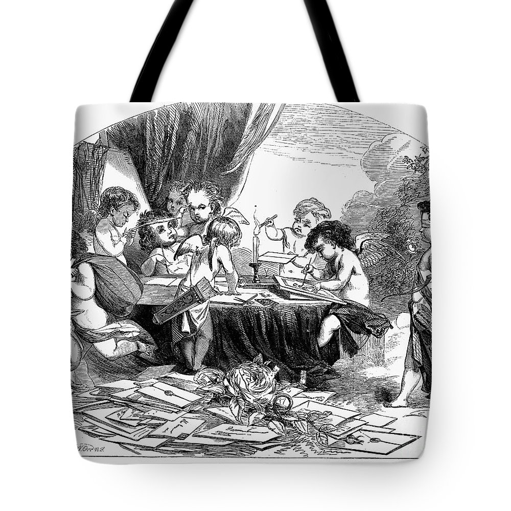 1856 Tote Bag featuring the photograph St. Valentines Day, 1856 by Granger