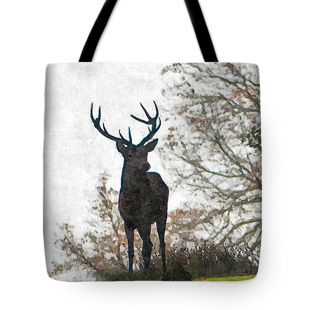 Stag Tote Bag featuring the photograph Stag On Hillside by Dawn OConnor