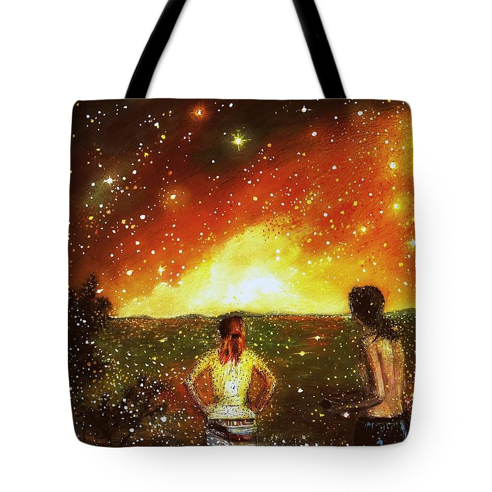 Landscape Tote Bag featuring the painting Stardust by Milenka Delic