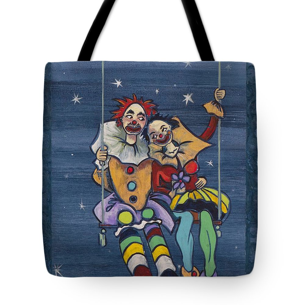 Love Tote Bag featuring the painting Starry Starry Night... by Elisabeta Hermann
