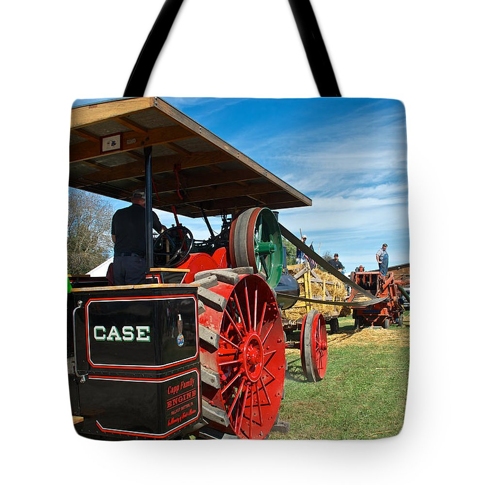 Arcadia Volunteer Fire Company Tote Bag featuring the photograph Start Her Up Its Thrashing Time by Mark Dodd