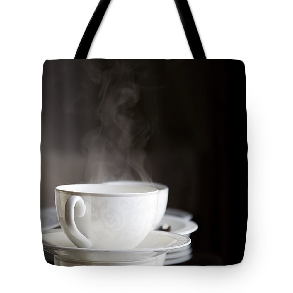 Coffee Tote Bag featuring the photograph Steaming by Kati Finell