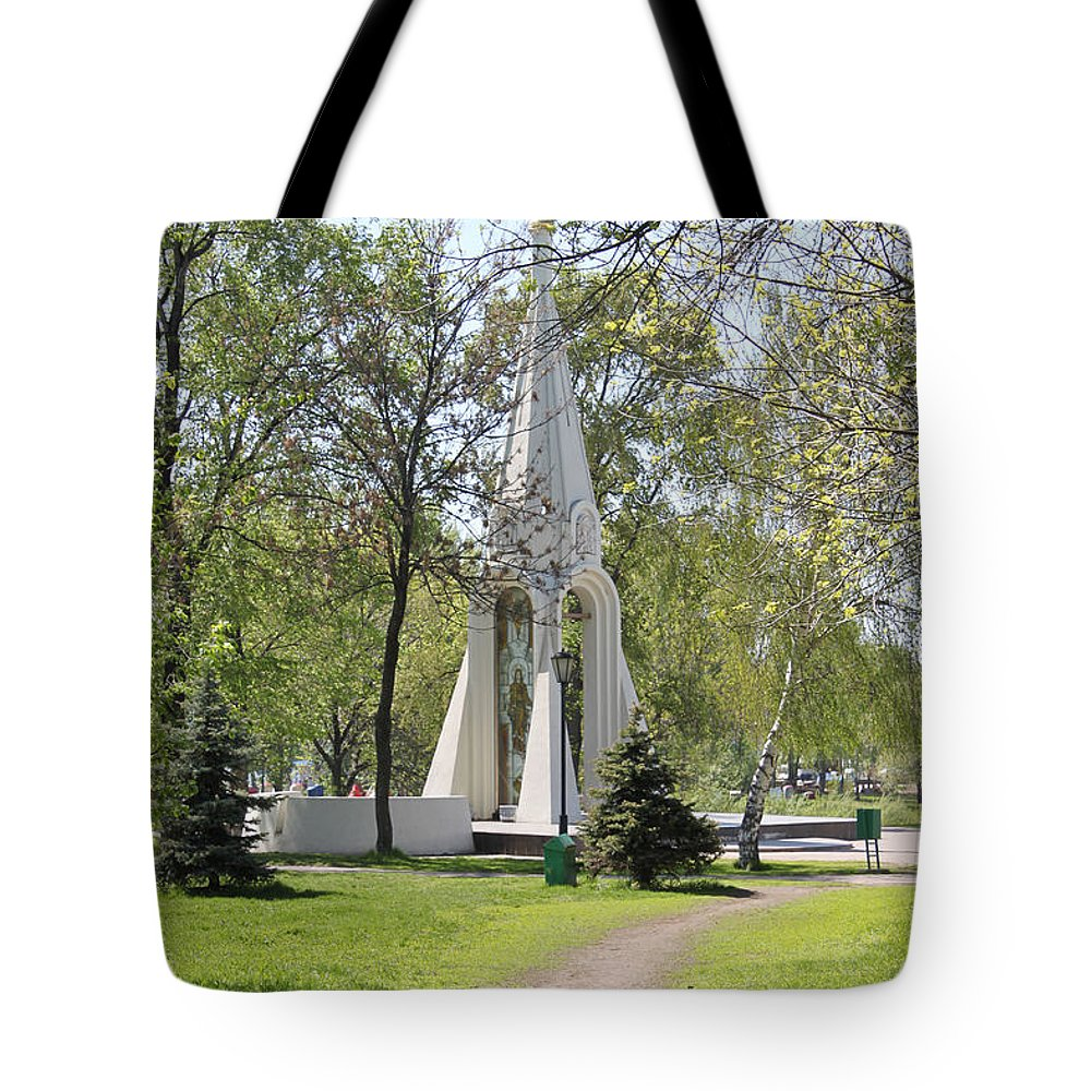 History Tote Bag featuring the photograph Stela In Park by Evgeny Pisarev