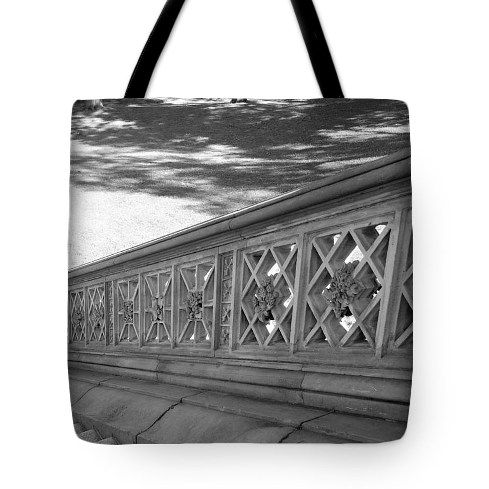 Central Park Tote Bag featuring the photograph Steps Of Central Park In Black And White by Rob Hans