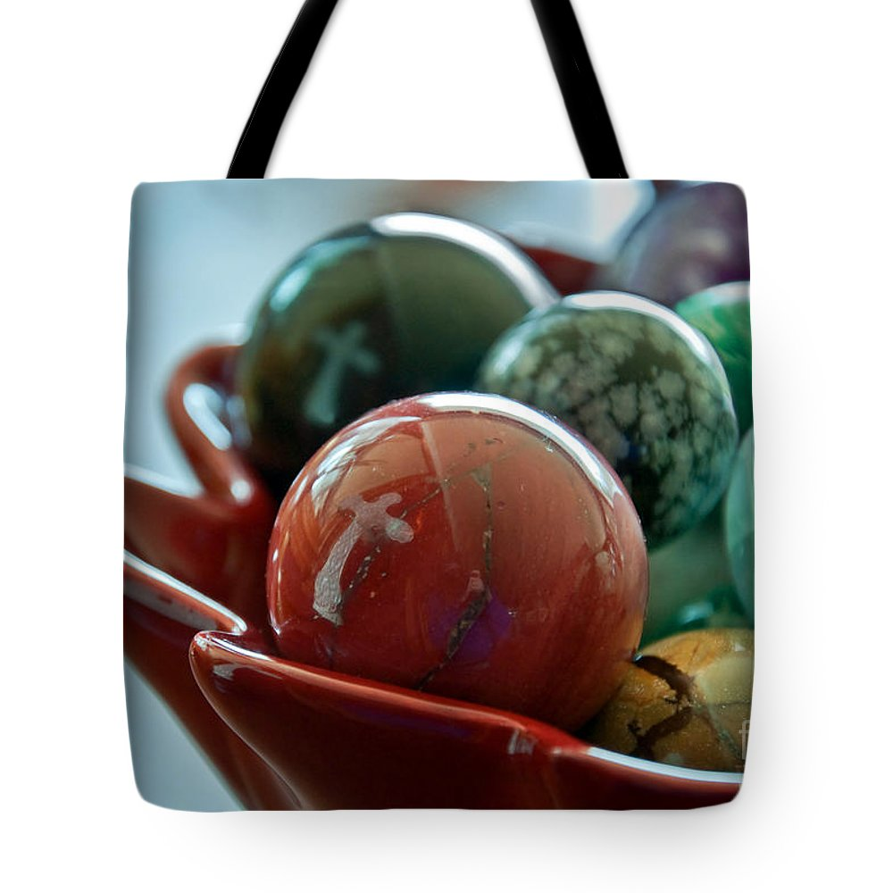Objects Tote Bag featuring the photograph Still Life Crosses Reflected In Bowl Of Glass Marbles Art Prints by Valerie Garner