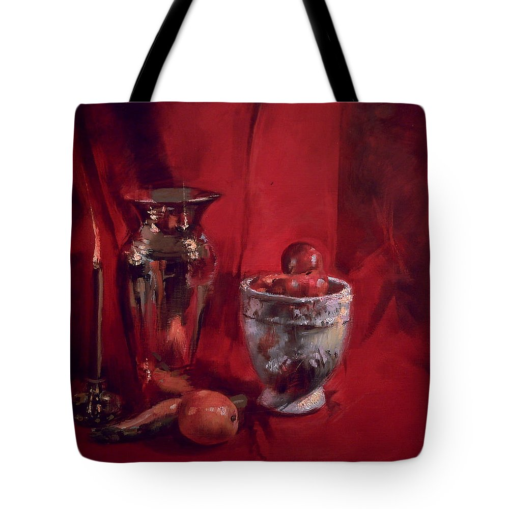 Still Life Tote Bag featuring the painting Still Life With Apples by Robert Dale Williams