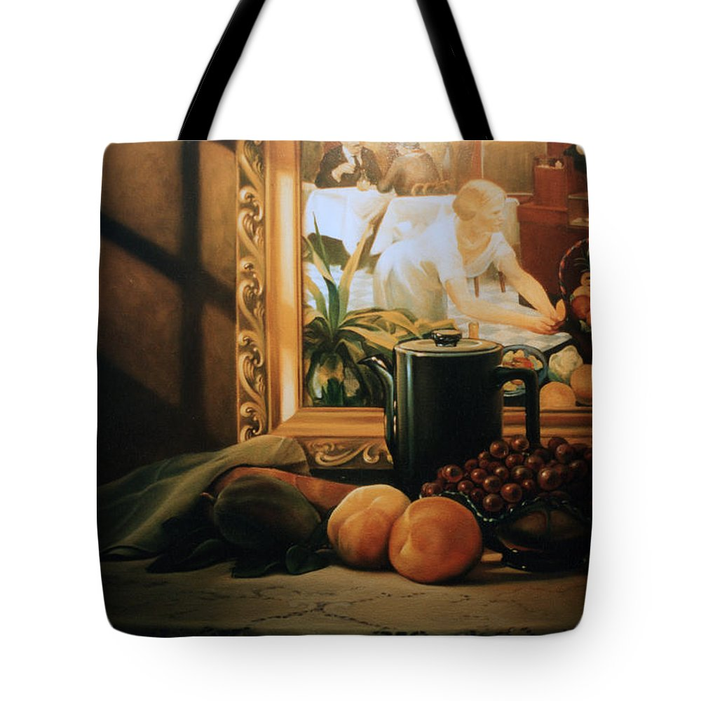 Peaches Tote Bag featuring the painting Still Life With Hopper by Patrick Anthony Pierson