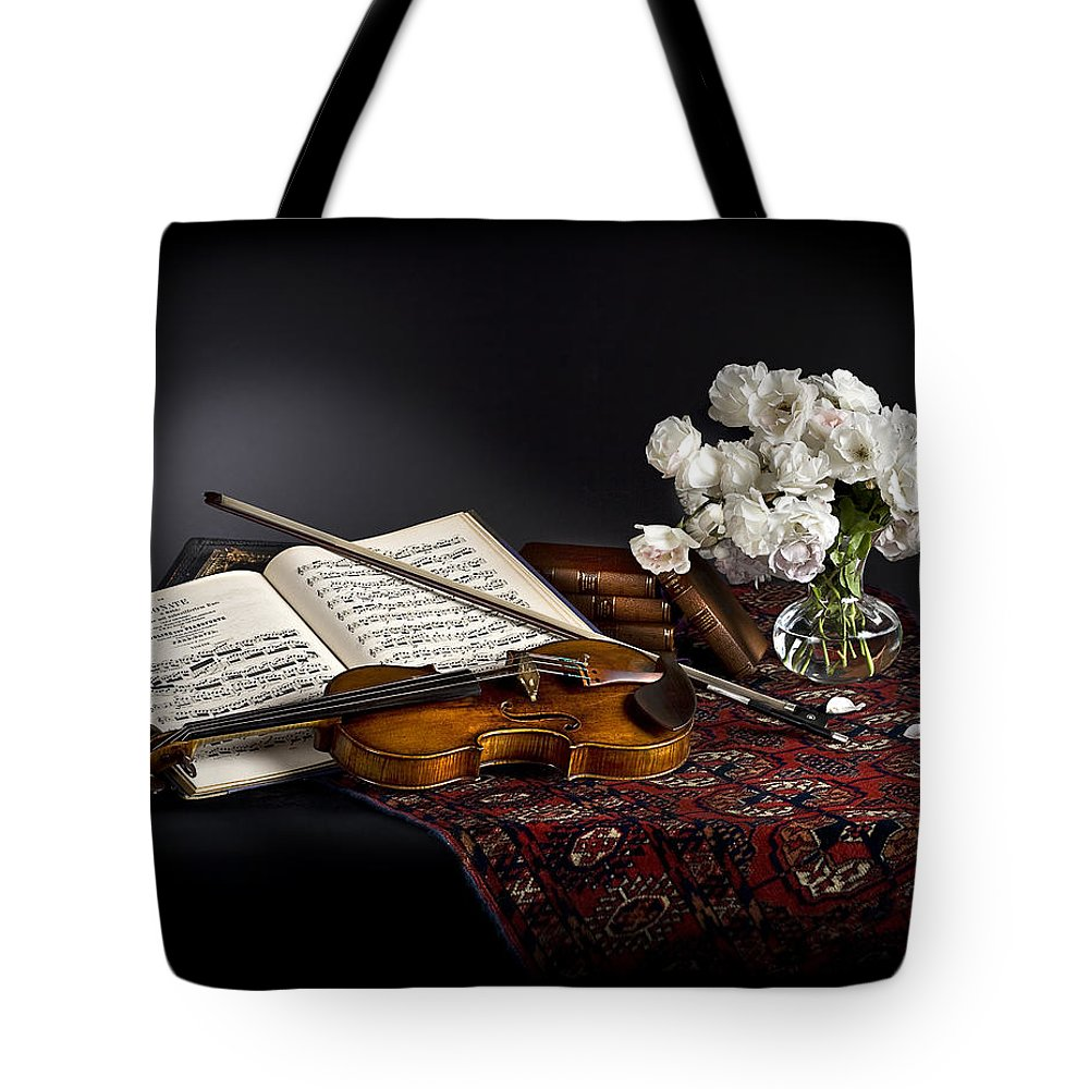 Strad Tote Bag featuring the photograph Still Life With Violin And Flowers by Endre Balogh