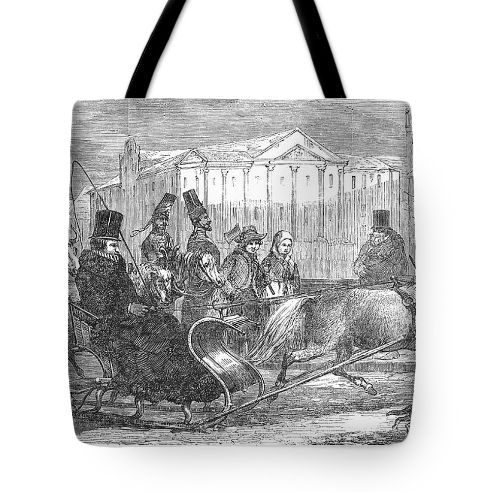 1850 Tote Bag featuring the photograph Stockholm: Sleighing, 1850 by Granger