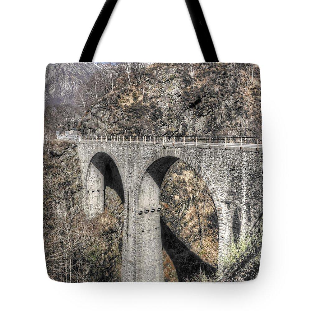 Bridge Tote Bag featuring the photograph Stone Bridge by Mats Silvan
