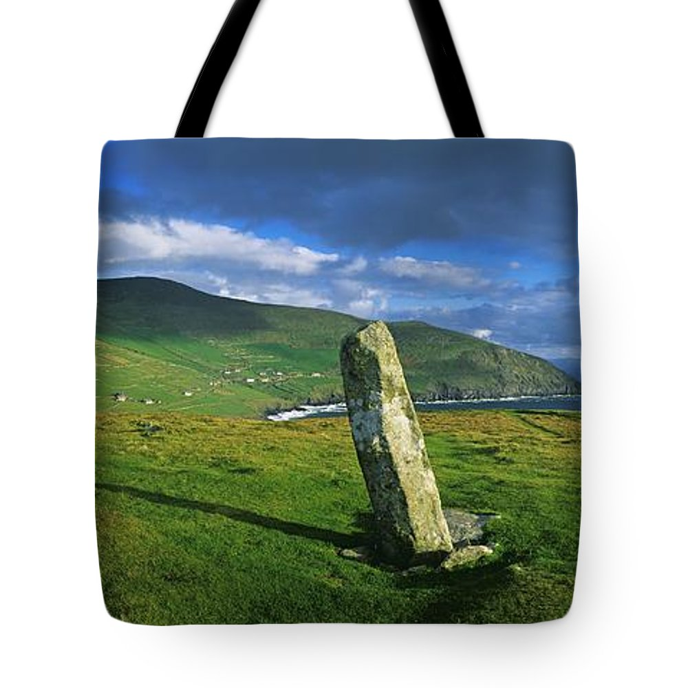 Co Kerry Tote Bag featuring the photograph Stone On A Landscape, Ogham Stone by The Irish Image Collection
