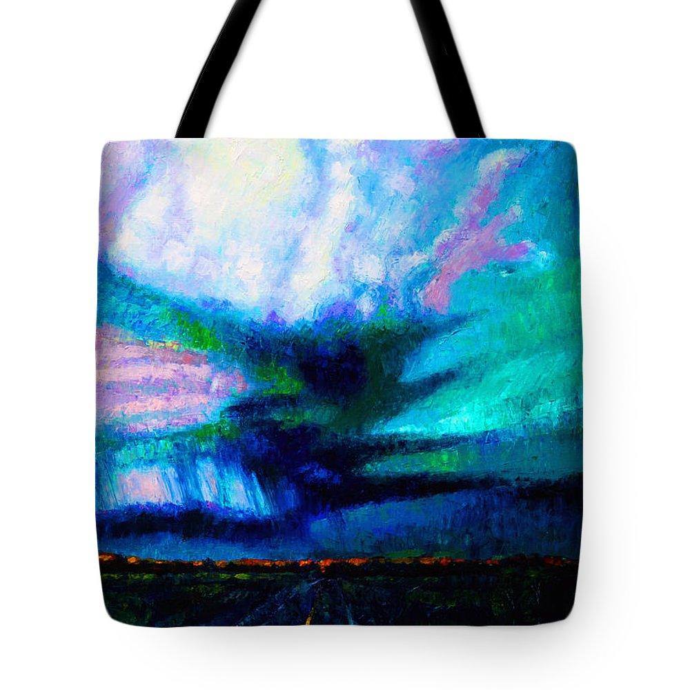Landscape Tote Bag featuring the painting Storm Chasing by John Lautermilch