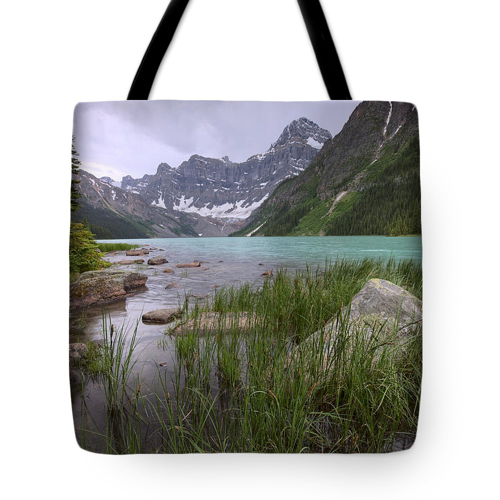 Colour Image Tote Bag featuring the photograph Storm Clouds Over Chephren Lake, Banff by Dan Jurak