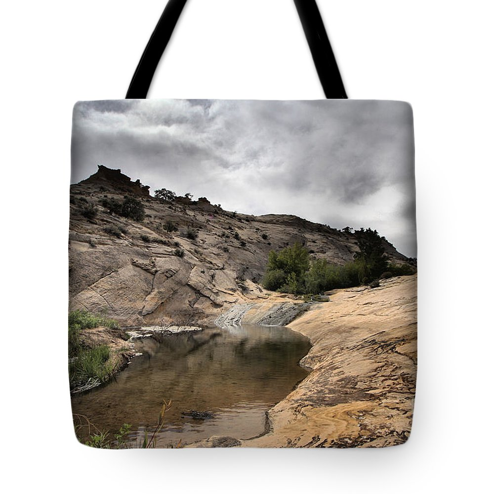 Upper Calf Creek Tote Bag featuring the photograph Storm On The Horizon by Adam Jewell