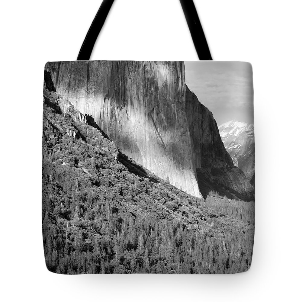 Black&white Tote Bag featuring the photograph Storm Over El Capitan by Sandra Bronstein