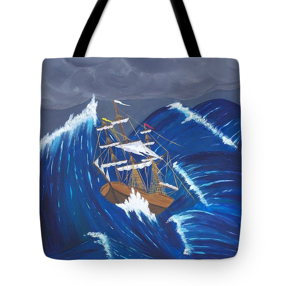 Storm Ravaged Tote Bag featuring the painting Storm Ravaged by Don Monahan