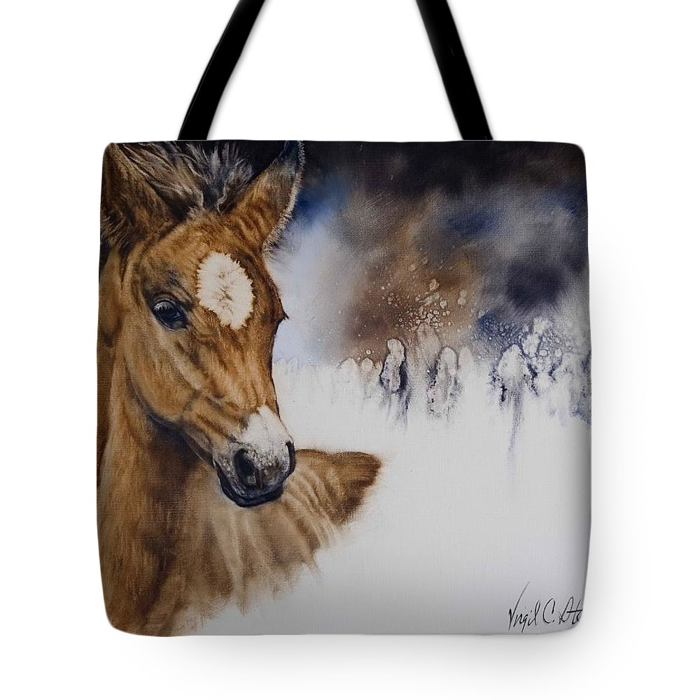 Horses Tote Bag featuring the painting Stormy Monday by Virgil Stephens