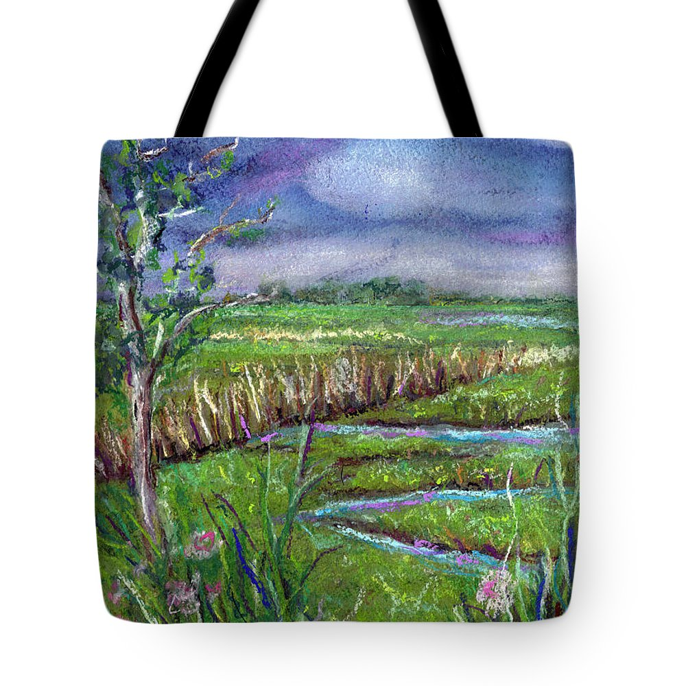 Pastel Tote Bag featuring the painting Stormy Wetlands by Clara Sue Beym