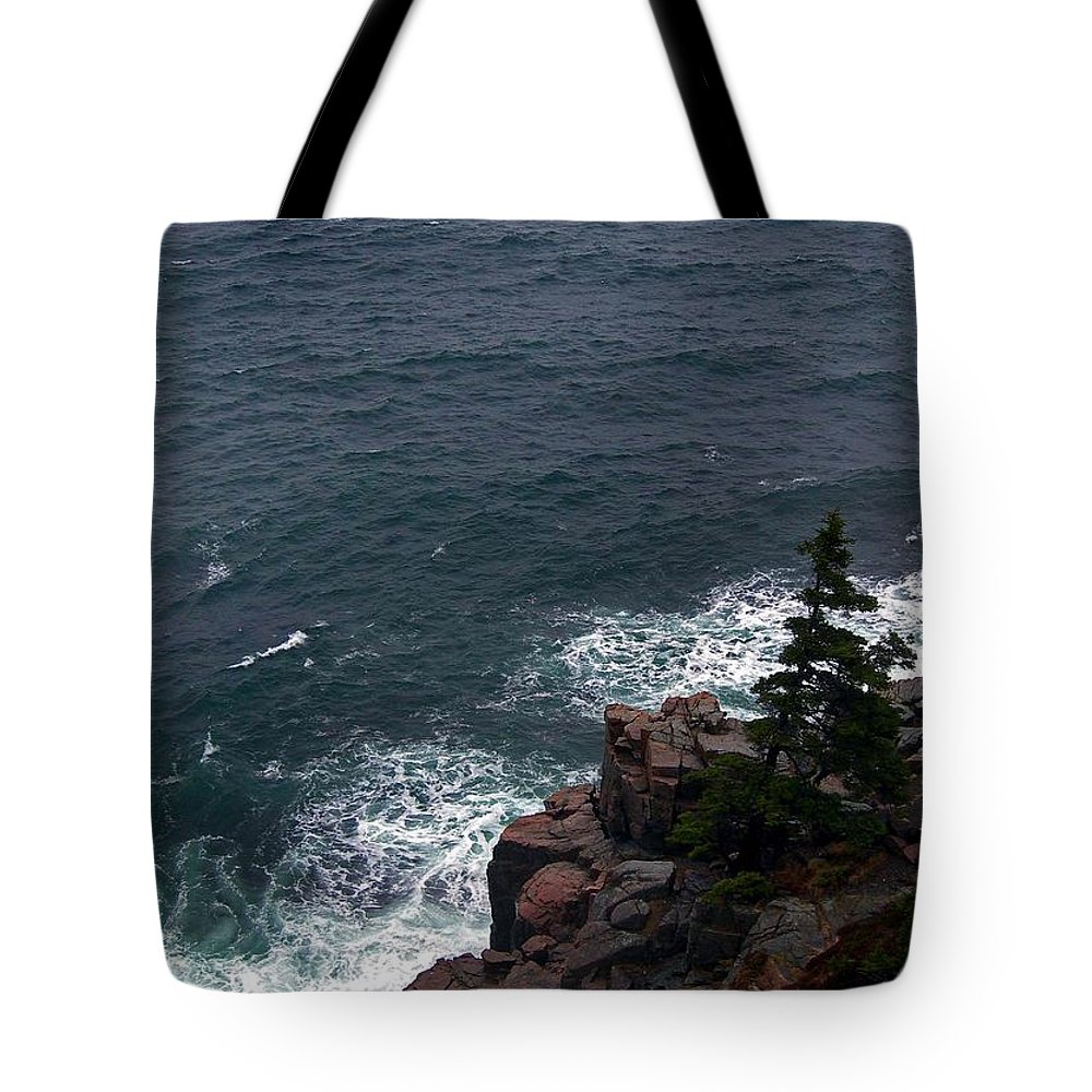 Maine Tote Bag featuring the photograph Straight Down by Skip Willits