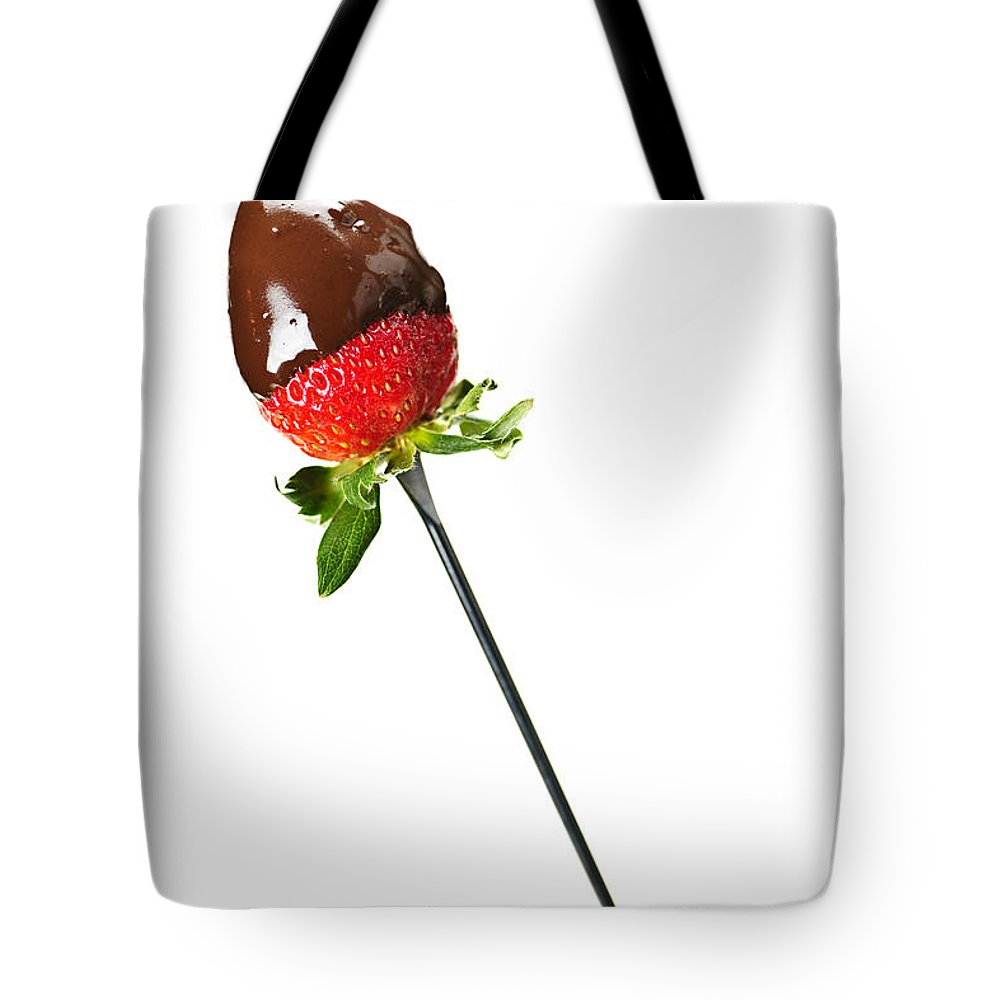 Strawberry Tote Bag featuring the photograph Strawberry Dipped In Chocolate by Elena Elisseeva