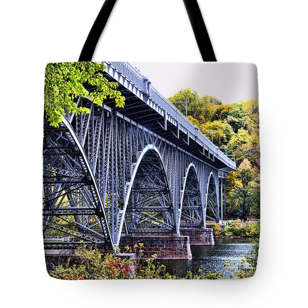 Strawberry Mansion Bridge Fall Philadelphia Pennsylvania Scenic Schulykill River West Drive Tote Bag featuring the photograph Strawberry Mansion Bridge Fall View by Alice Gipson