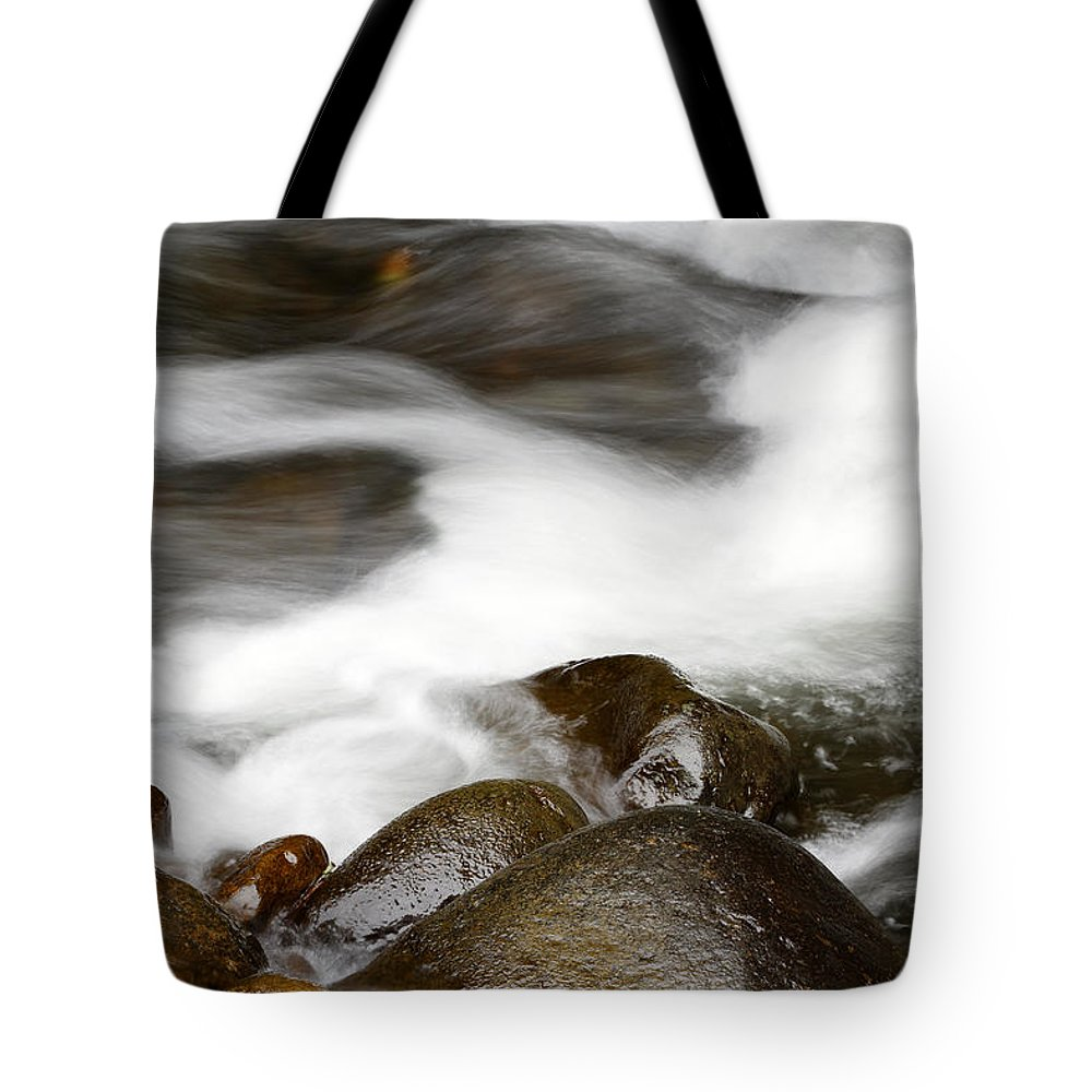 Brook Tote Bag featuring the photograph Stream Flowing Over Rocks by Les Cunliffe