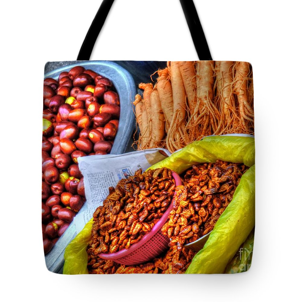 Street Tote Bag featuring the photograph Street Food Snacks In Seoul by Michael Garyet