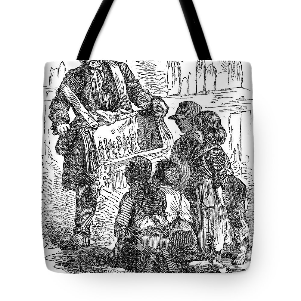 1850 Tote Bag featuring the photograph Street Musician, 1850 by Granger