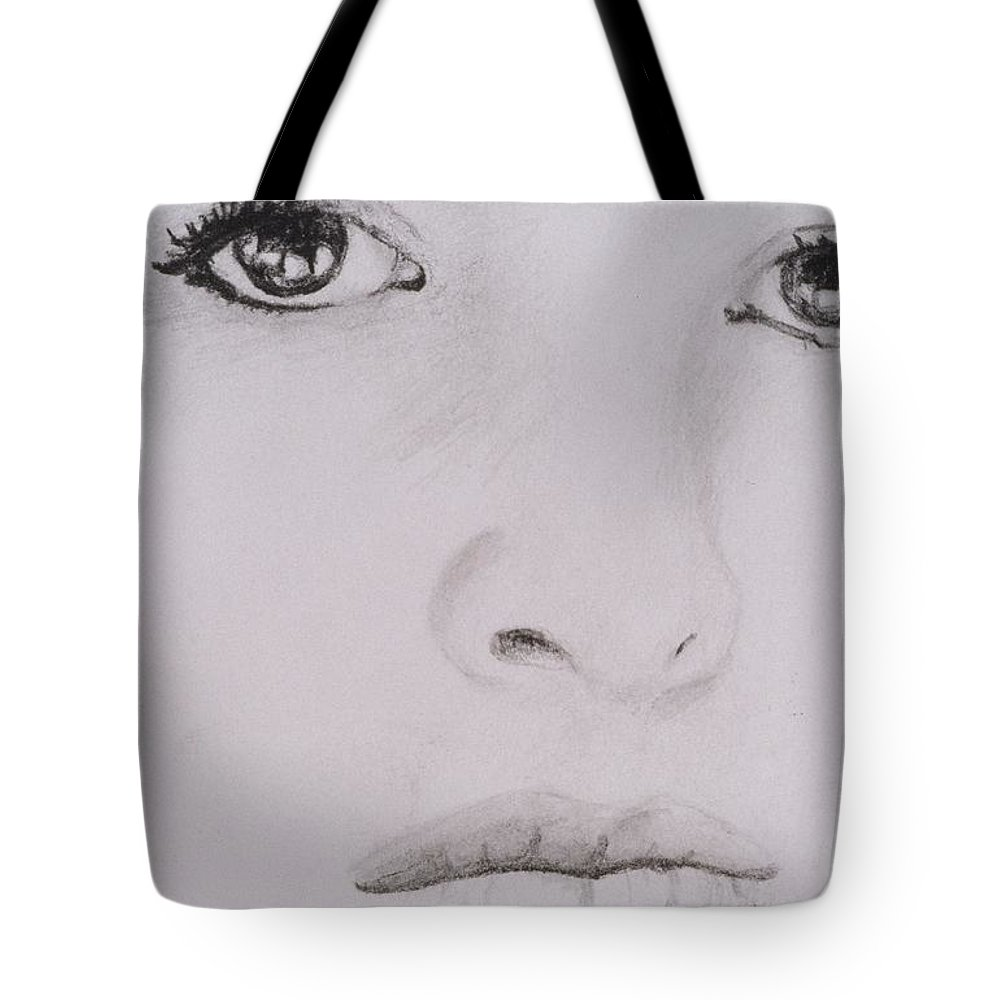 Eyes Tote Bag featuring the drawing Stunning by Nik English