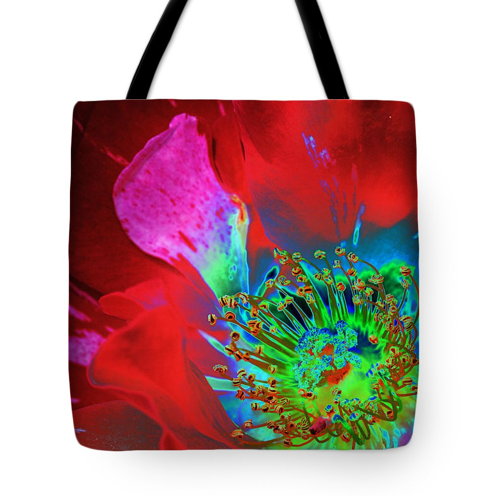 Rose Tote Bag featuring the photograph Stylized Flower Center by Phyllis Denton