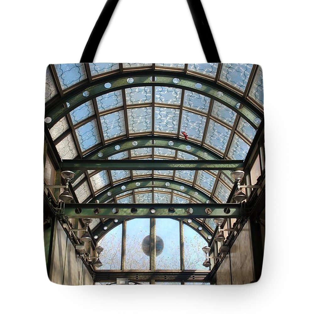 Black And White Tote Bag featuring the photograph Subway Glass Station by Rob Hans