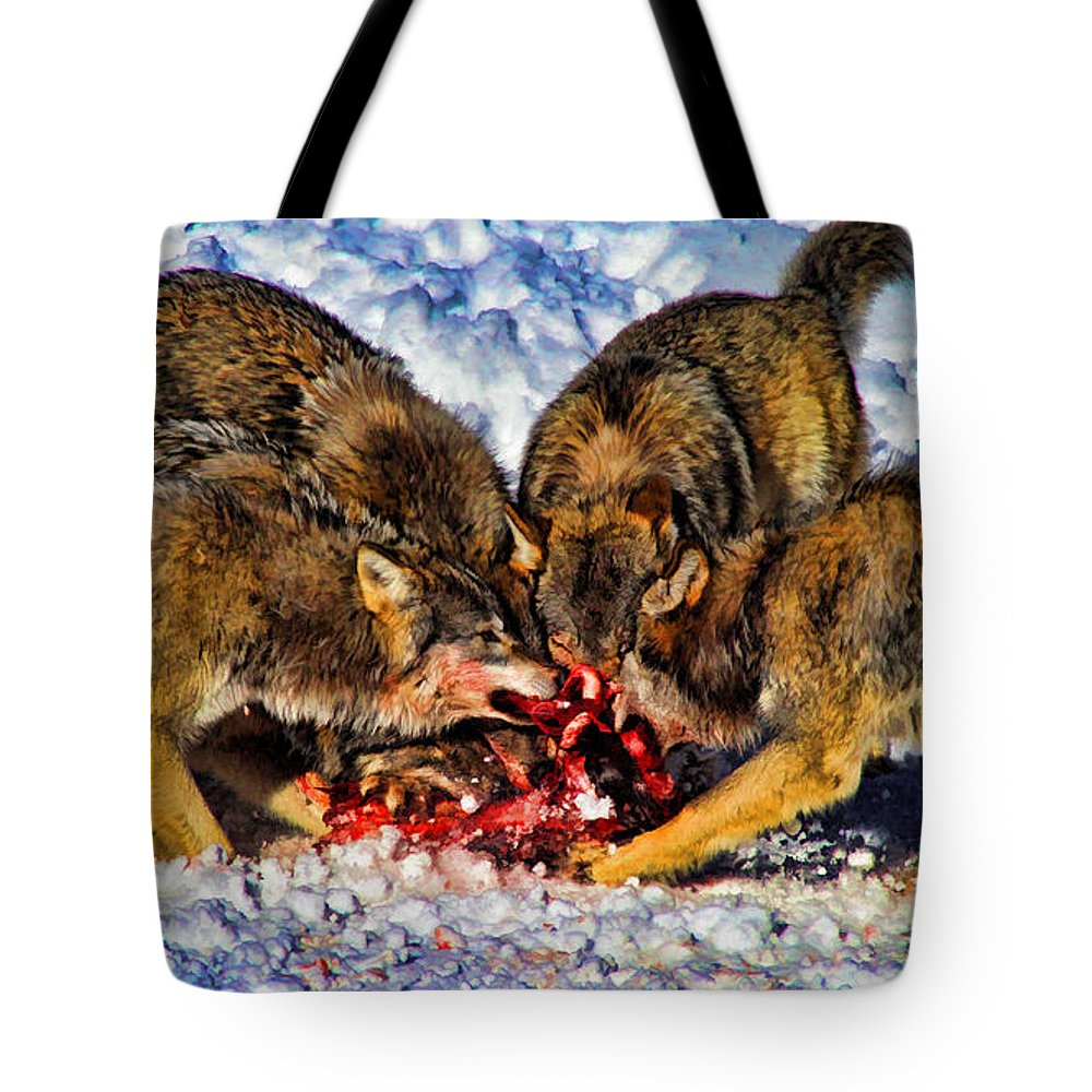 Wolf Tote Bag featuring the painting Success by Dean Wittle
