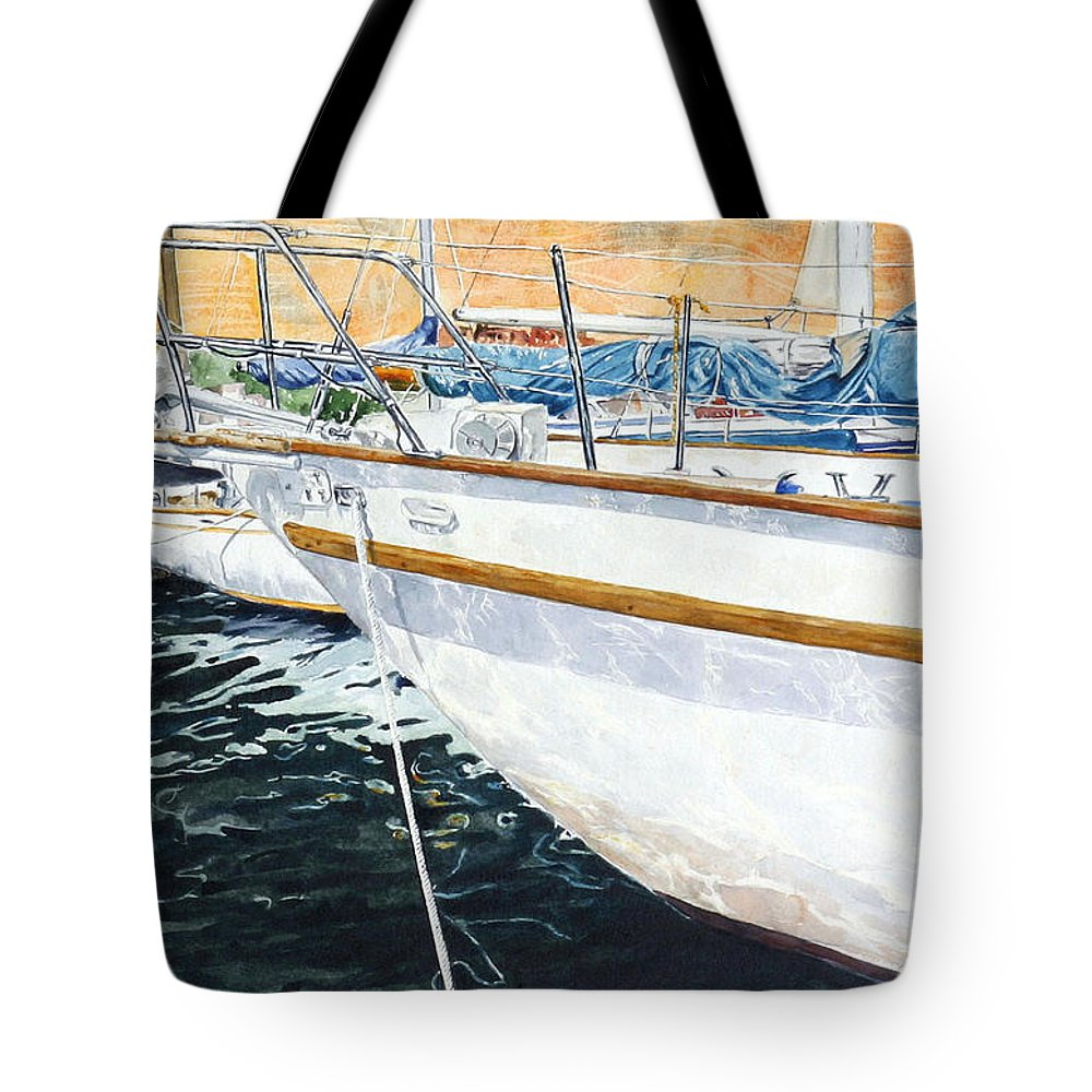 Schip. Boats Tote Bag featuring the painting Su'entu E Nora Riflessi by Giovanni Marco Sassu