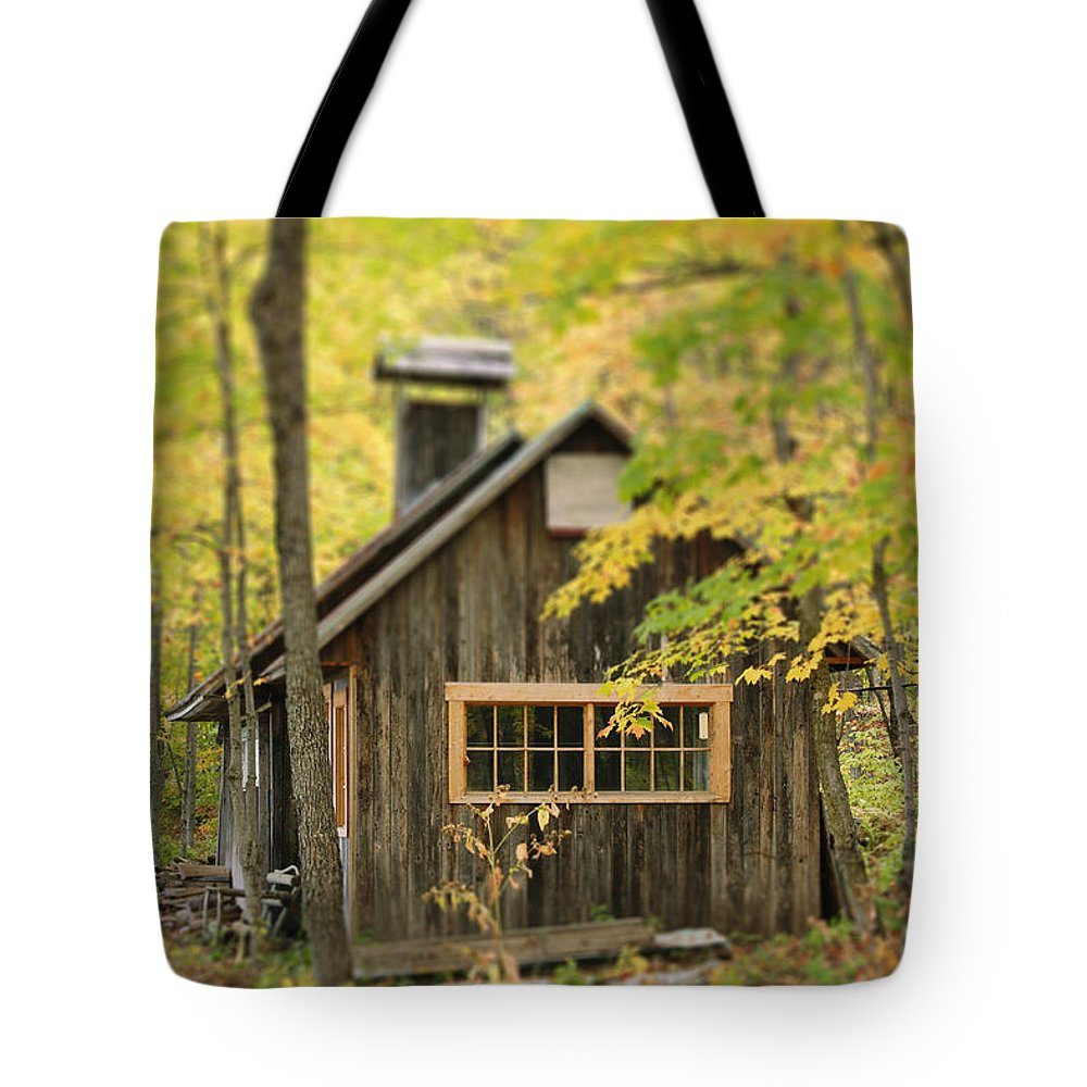 Bas-saint-laurent Tote Bag featuring the photograph Sugar Cabin In Autumn, Kamouraska by Yves Marcoux
