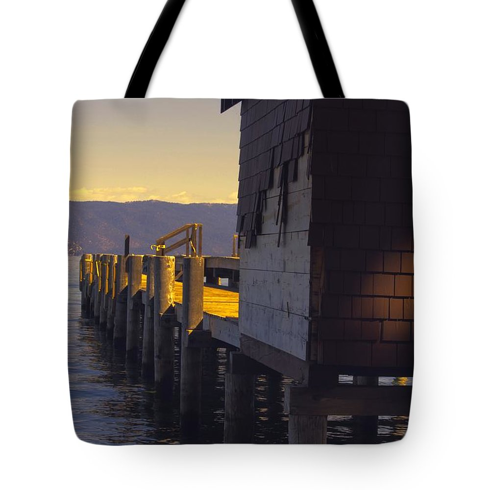 Lake Tahoe Tote Bag featuring the photograph Sugar Pine Point Dock by Linda Dunn