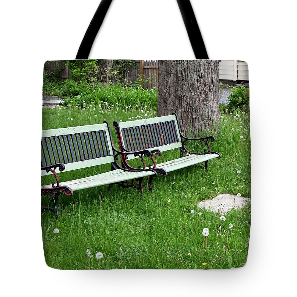 Benches Tote Bag featuring the photograph Summer Bench And Dandelions by Lorraine Devon Wilke