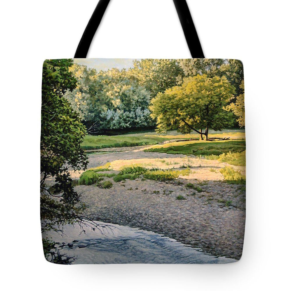 Landscape Tote Bag featuring the painting Summer Evening Along The Creek by Bruce Morrison