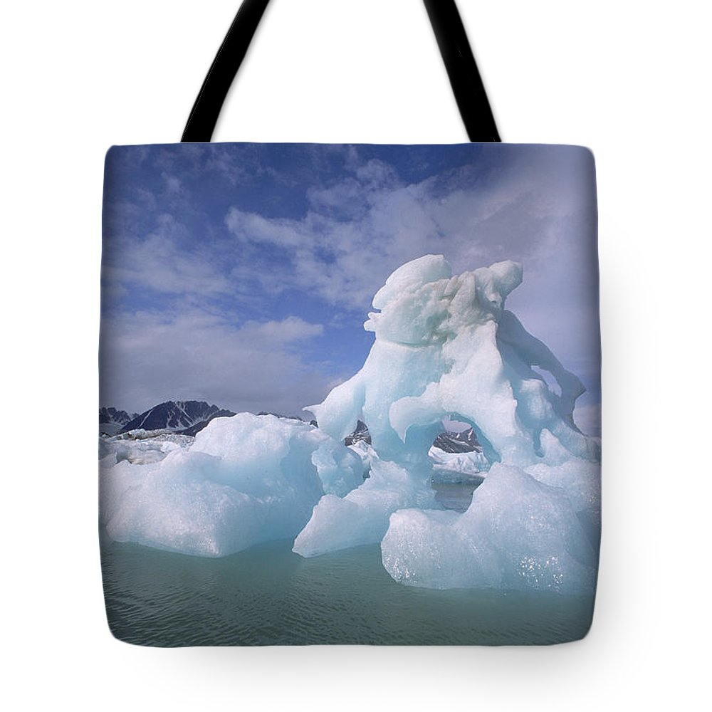 Arctic Tote Bag featuring the photograph Summer Icebergs, Spitsbergen Island by Tui De Roy