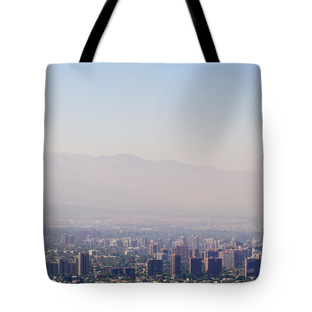 Photography Tote Bag featuring the photograph Summer Smog And Pollution In Santiagos by Jason Edwards