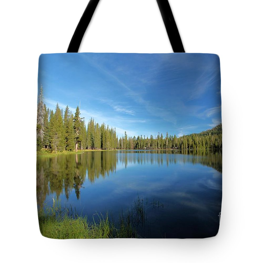 Summit Lake Tote Bag featuring the photograph Summit Lake Blues by Adam Jewell