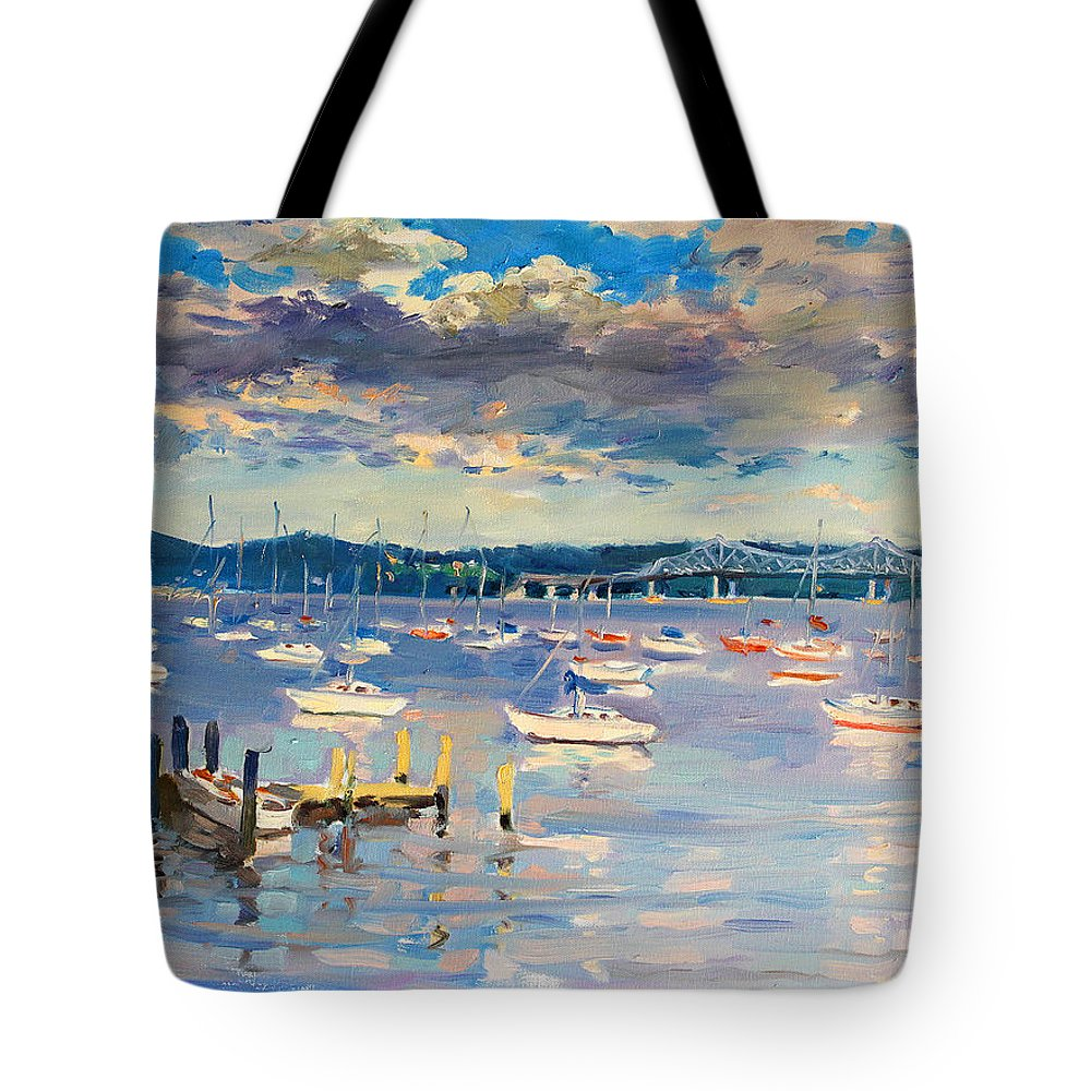 Hudson River Tote Bag featuring the painting Sun And Clouds In Hudson by Ylli Haruni