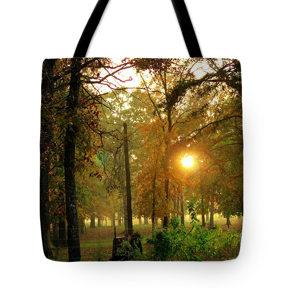 Sunset Tote Bag featuring the photograph Sun Sets On A Rainy Autumn Evening by Kathy White