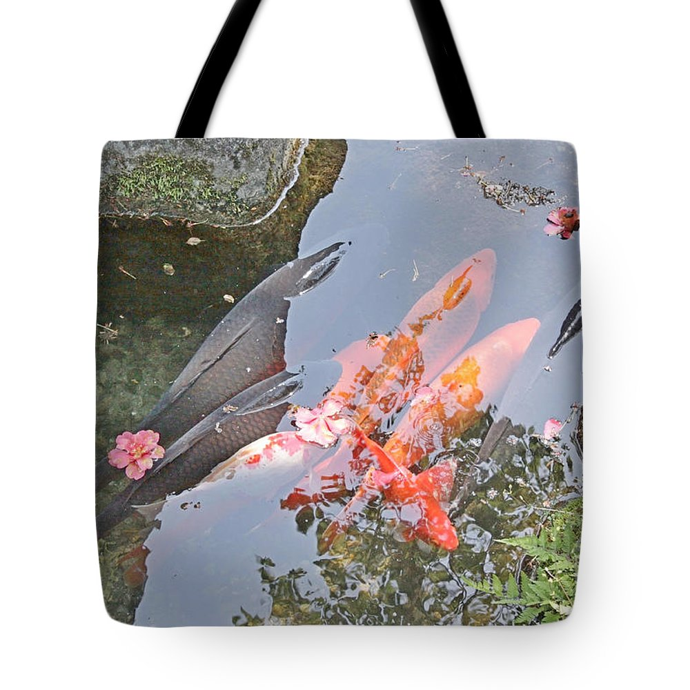 Red Tote Bag featuring the photograph Sun Water Flowers And Fish by Evgeny Pisarev