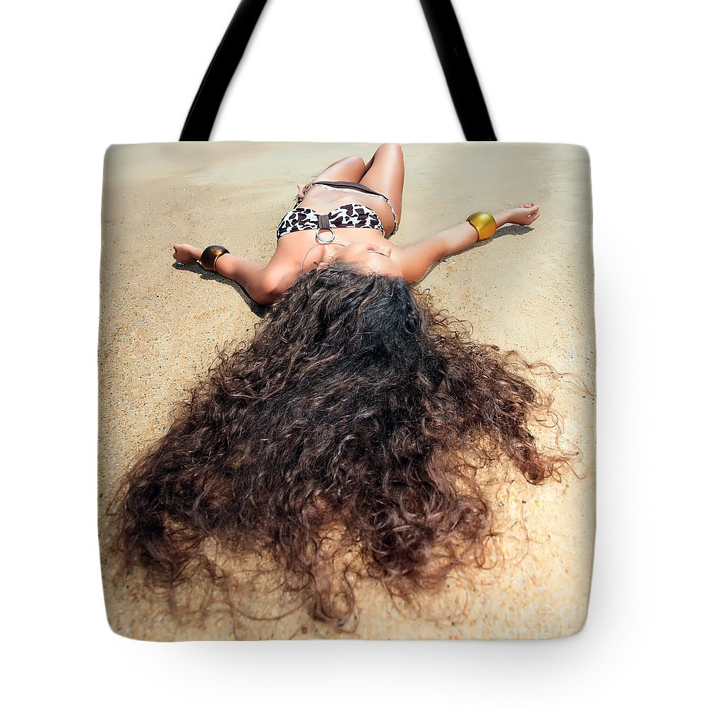 Girl Tote Bag featuring the photograph Sunbathing Woman by MotHaiBaPhoto Prints