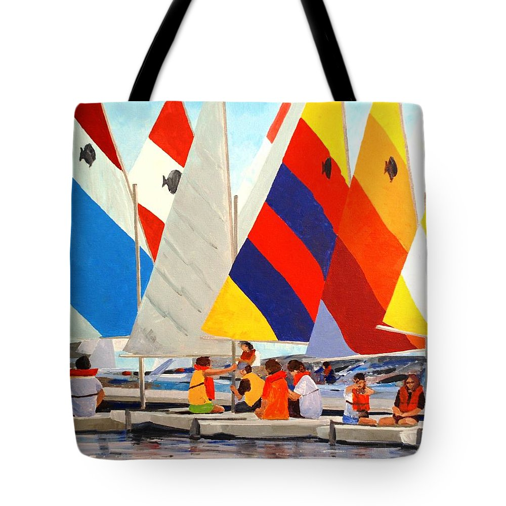 Sunfish Tote Bag featuring the painting Sunfish Bootcamp by Keith Wilkie