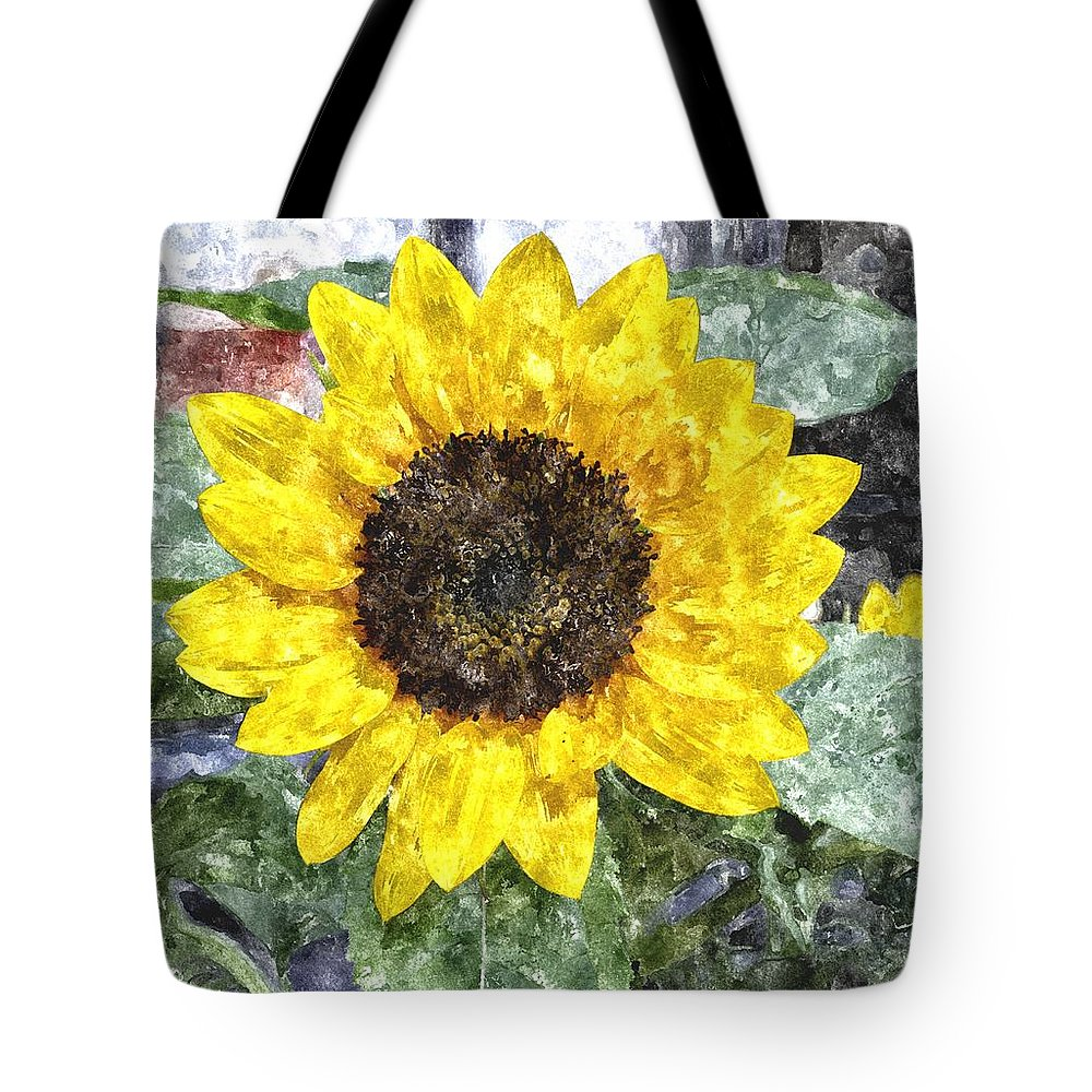 Sunflower Tote Bag featuring the digital art Sunflower 4 Sf4wc by Jim Brage