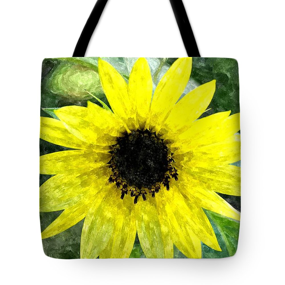 Sunflower Tote Bag featuring the digital art Sunflower 5 Sf5wc by Jim Brage