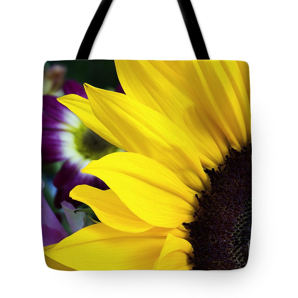Sunflower Tote Bag featuring the photograph Sunflower Closeup by Simon Bratt Photography LRPS
