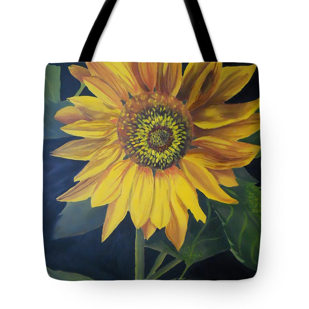 Sunflower Tote Bag featuring the painting Sunflower by Yenni Harrison
