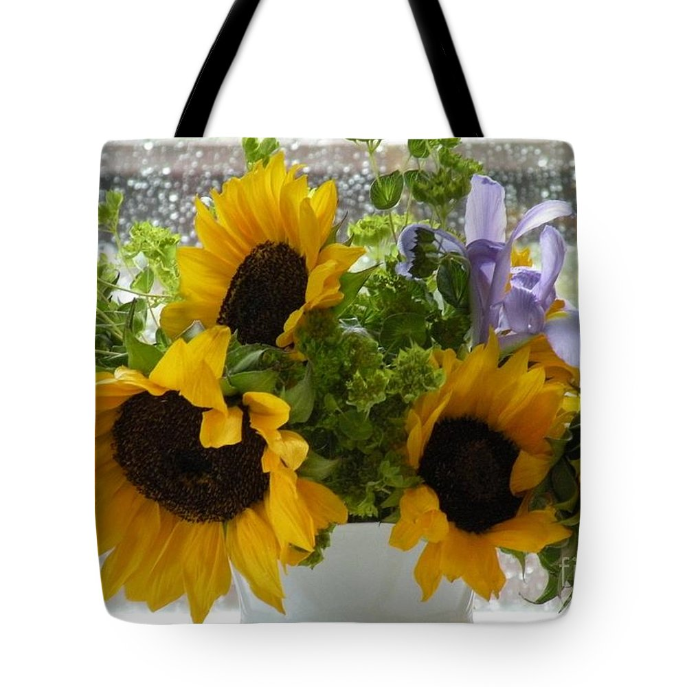 Floral Photography Tote Bag featuring the photograph Sunflowers Four by Saundra Lane Galloway
